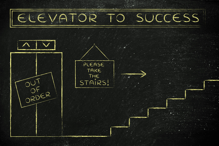 requiring: concept of success requiring time and effort: out of order elevator, you gotta take the stairs