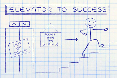 take time out: concept of success requiring time and effort: out of order elevator, you gotta take the stairs (man version)