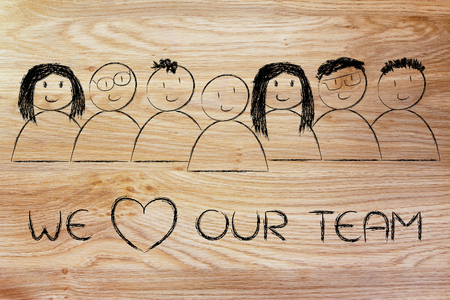 our team: we heart our team: happy group of people Stock Photo