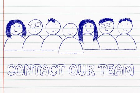 employee satisfaction: group of people expressing happiness and diversity, contact our team (customer service concept)