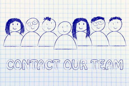 expressing: group of people expressing happiness and diversity, contact our team (customer service concept)