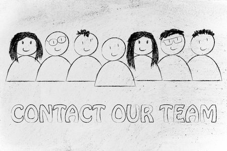 our people: group of people expressing happiness and diversity, contact our team (customer service concept)