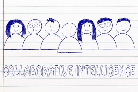 collaborative: happy group of people dedicated to collaborative intelligence online