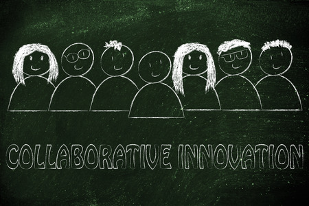 collaborative: happy group of people dedicated to collaborative innovation Stock Photo