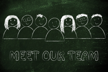 our people: group of people expressing happiness and diversity, meet our team