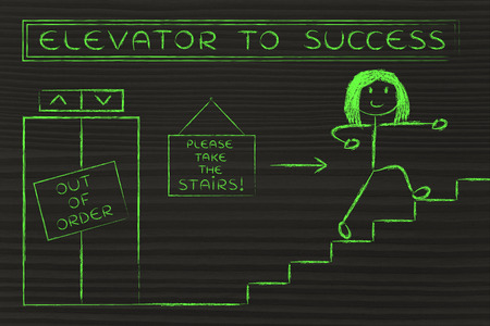 requiring: concept of success requiring time and effort: out of order elevator, you gotta take the stairs (woman version)