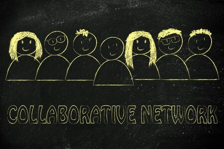 collaborative: happy group of people dedicated to a collaborative network