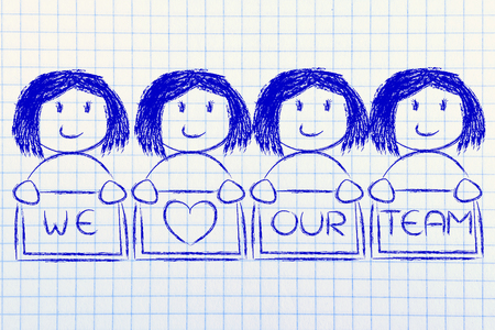 competitive advantage: we heart our team: happy group of women collaborating