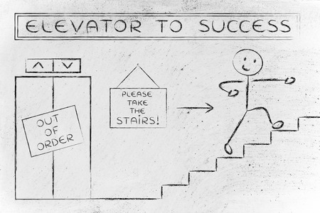 requiring: concept of success requiring time and effort: out of order elevator, you gotta take the stairs (man version)