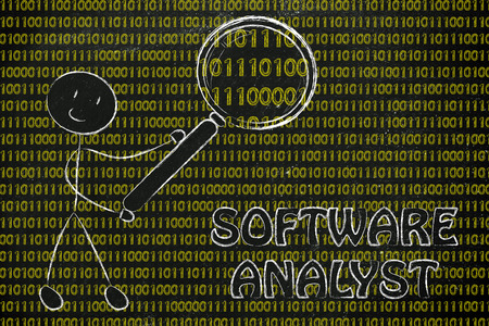 analyst: being a software analyst: man checking binary code with a magnifying glass