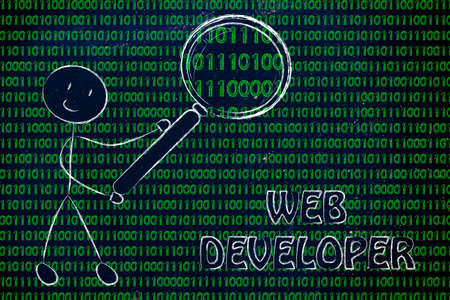 web developer: being a web developer: man checking binary code with a magnifying glass