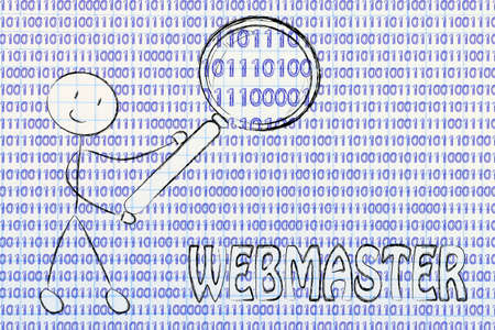 frontend: being a webmaster: man checking binary code with a magnifying glass