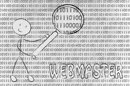 webmaster: being a webmaster: man checking binary code with a magnifying glass