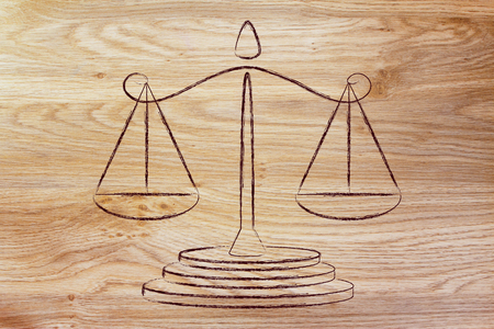 measuring instruments: illustration of an old school balance, measuring instruments and metaphorical concept of taking decisions Stock Photo