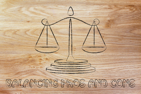pros: illustration of an old school balance, concept of measuring pros and cons