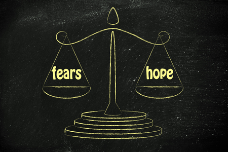 instinct: concept of comparing fears & hope, illustration of an old school balance Stock Photo