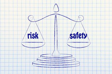 concept de comparer les risques et la sécurité, illustration d'une vieille balance de l'école