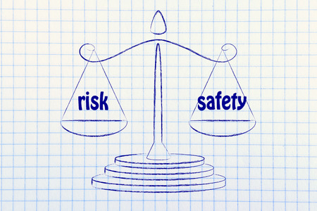 concept of comparing risk & safety, illustration of an old school balance Stock Photo