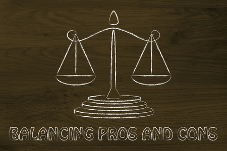 cons: illustration of an old school balance, concept of measuring pros and cons