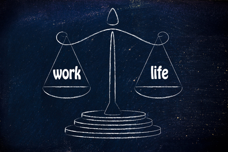 balanza: equilibrar la medici�n de su conciliaci�n de la vida: la vida privada y profesional