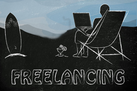 freelancing: freelancing, man typing on his laptop from the beach