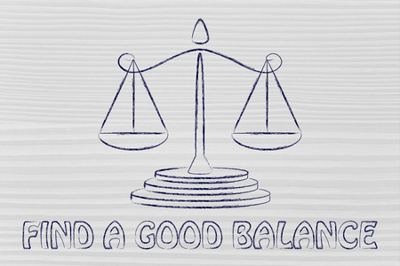 pros: find a good balance, concept of measuring pros and cons and taking decisions Stock Photo