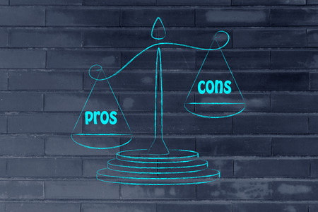 pros: metaphor of balance showing the pros overcoming the cons