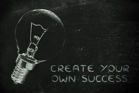 challenging mission: brilliant ideas to create your own success, illustration with real lightbulb