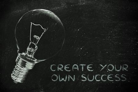 mision: Ideas brillantes para crear su propio éxito, ilustración con la bombilla de bienes