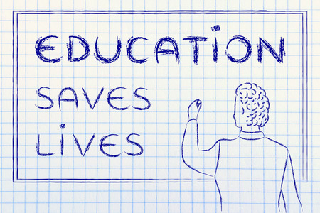 education saves lives, teacher writing motivational message on blackboard Imagens