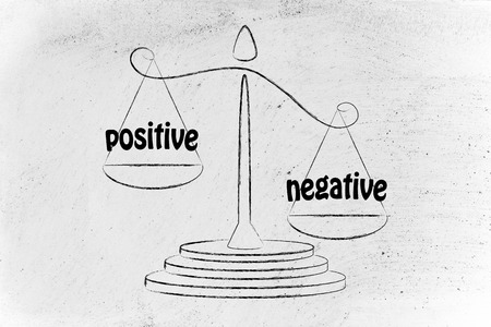 pros: more cons than pros, metaphor of balance measuring the positive and the negative Stock Photo