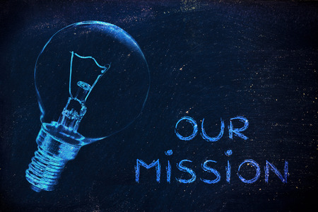 the brilliant ideas behind our mission, iillustration with real lightbulb for institutional communication