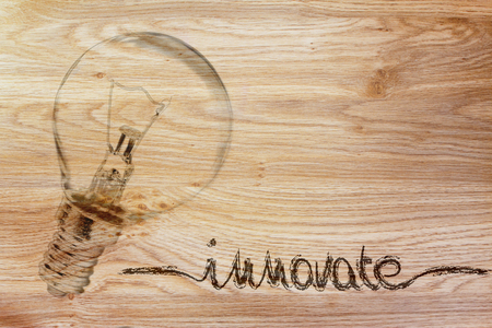 brilliant ideas: brilliant ideas for innovation, illustration with real lightbulb Stock Photo