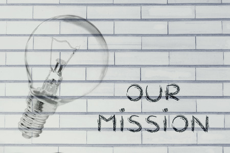 brilliant ideas: the brilliant ideas behind our mission, iillustration with real lightbulb for institutional communication