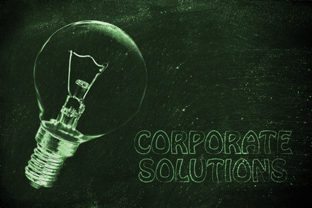 brilliant ideas: brilliant ideas for business solutions, illustration with real lightbulb Stock Photo
