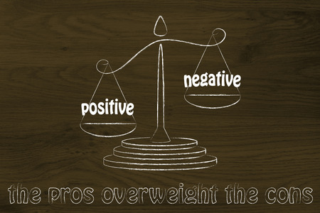 cons: pros winning over the cons, metaphor of balance with positivity being stronger than negativity
