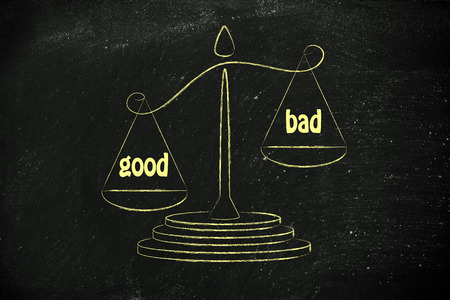 wins: pros wins over cons, metaphor of balance measuring the good and the bad