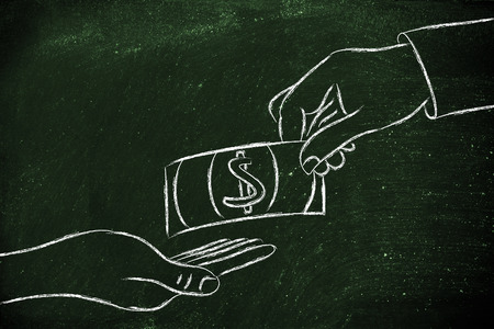 exchanging: money and payments: hands exchanging banknote Stock Photo