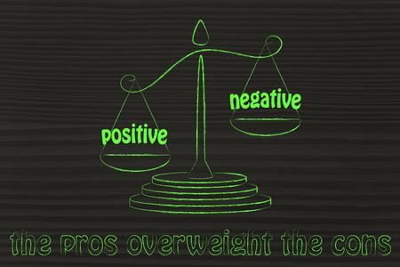 pros winning over the cons, metaphor of balance with positivity being stronger than negativity