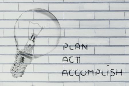 accomplish: turn ideas into reality: plan, act, accomplish (illustration with real lightbulb)