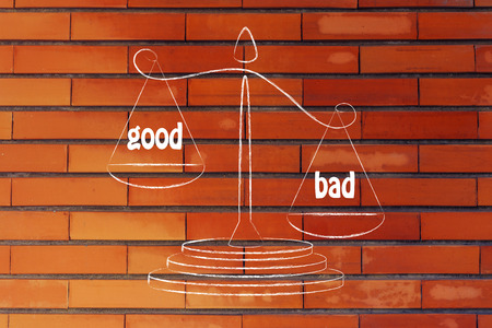 pros: the cons win over the pros, metaphor of balance measuring the good and the bad Stock Photo