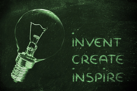 invent: invent, create and inspire: trun your ideas into real success (lightbulb illustration) Stock Photo