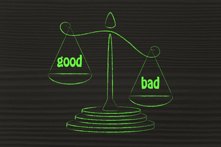 cons: the cons win over the pros, metaphor of balance measuring the good and the bad Stock Photo