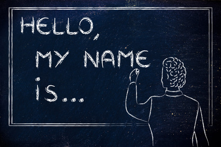 my name is: Hello, my name is..., new teacher introducing himself and writing his name on blackboard