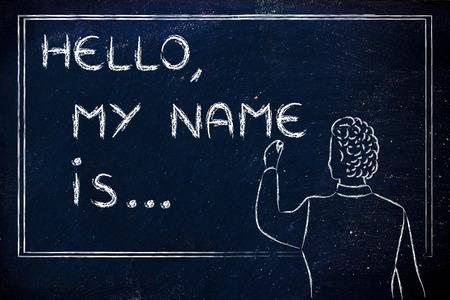안녕하세요, 제 이름은 ... 새로운 교사가 자신을 소개하고 칠판에 자신의 이름을 쓰고있다