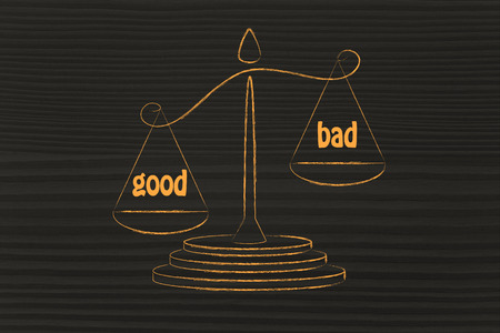 pros: pros wins over cons, metaphor of balance measuring the good and the bad