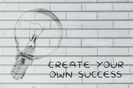 brilliant ideas: brilliant ideas to create your own success, illustration with real lightbulb