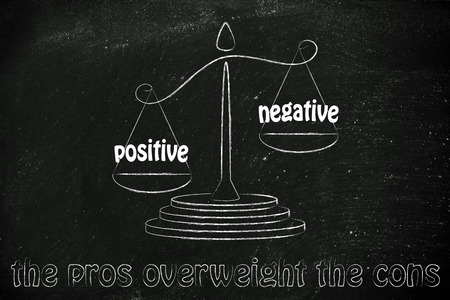 pros: pros winning over the cons, metaphor of balance with positivity being stronger than negativity