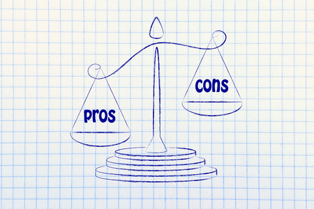 cons: metaphor of balance showing the pros overcoming the cons