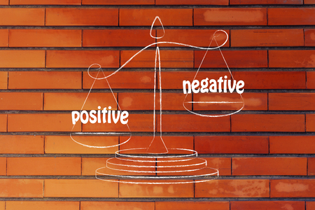 cons: pros versus cons, metaphor of balance measuring the positive and the negative